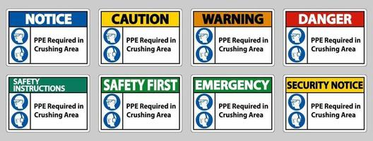 Sign PPE Required In Crushing Area Isolate on White Background