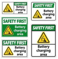 Safety First Battery charging area Sign on white background vector