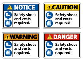 Safety Shoes And Vest Required With PPE Symbols on White Background vector