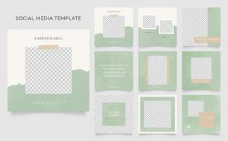 social media template banner blog fashion sale promotion. fully editable  square post frame puzzle organic sale poster. green brown white vector background