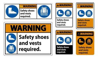 Warning Sign Safety Shoes And Vest Required With PPE Symbols on white background