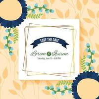 save the date square frame vector