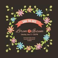 save the date wreath crown frame vector