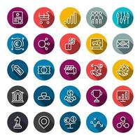 Business marketing online or financial investment benefit or return icons with outline on circle color shape and long shadow vector