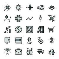 Business marketing design outline icons with dark gray color tone. vector