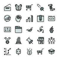iconos de contorno de diseño de marketing empresarial con tono de color gris oscuro. infografía vectorial. vector