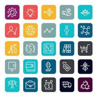 Business marketing online or financial investment benefit or return icons with outline on square color shape. vector infographic.