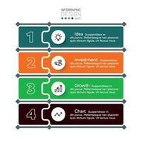 Inversión de planificación empresarial o marketing mediante 4 pasos de etiqueta vectorial. diseño infográfico. vector