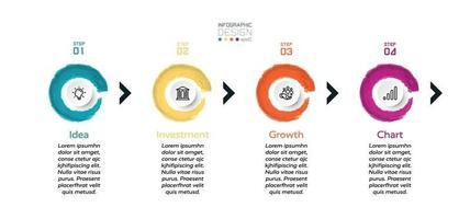 círculo, forma de pincel, nuevo diseño, 4 pasos para presentar un plan de negocios, organización o publicidad. diseño de infografía vectorial. vector