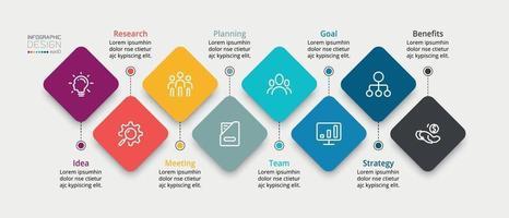 presentación de marketing, plan de negocios, informe de estudio a través de cuadrado, cometa, vector, infografía.