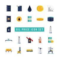 bundle of oil price icon set vector