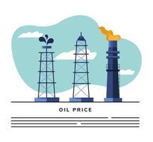 Plantilla de banner de aceite de refinería de torres y chimenea vector