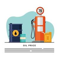 station service pump with barrel and bills banner template vector