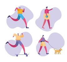 Conjunto de personas que realizan varias actividades con mascarillas. vector