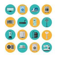 Appliances flat style icon set vector