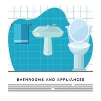 bathroom toilet and sink scene banner template vector