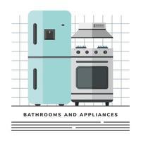 Plantilla de banner de electrodomésticos de cocina de nevera y horno vector