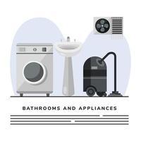 aspiradora y lavadora con plantilla de banner de baño de lavabo vector