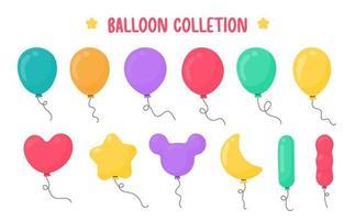 globos de dibujos animados de varias formas para la decoración en la fiesta de celebración.