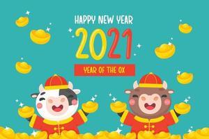 feliz año nuevo chino 2021 tigre de dibujos animados sosteniendo oro bendición año nuevo chino. vector