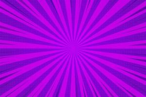 Abstract background comic cartoon purple zoom lines with halftone pattern. vector