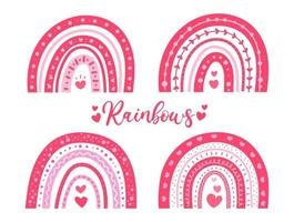 Hand painted cute rainbow Decorated with pink heart shape Valentine's Day card decoration ideas vector