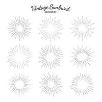 Vintage sunburst vector collection set. Retro solar graphics