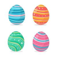 Eggs painted in various colorful patterns For decorating the cards given to the children at Easter. vector