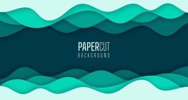 Simple 3d abstract background of green sea water waves Modern paper cut graphic design vector