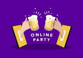Online party. Two hands holding beer out of a mobile phone. Celebrate with friends at home with video call. Social Distancing concept. vector