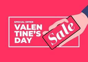 mano sujetando el teléfono con promoción de venta. Plantilla de banner de venta de día de San Valentín. vector
