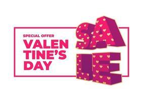 Plantilla de banner de venta de día de San Valentín. vector