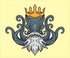octopus king illustration vector