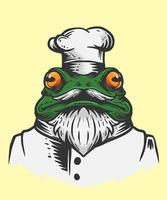 Ilustración de chef rana vector