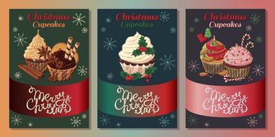 tarjetas de cupcakes de navidad vector