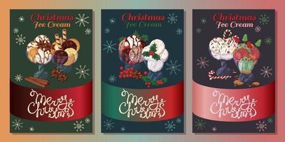 Christmas ice-cream in bowls cards vector