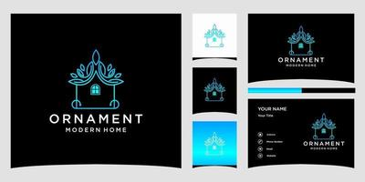Ornament modern home logo templates and business card design Premium Vector
