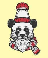 winter panda illustration vector