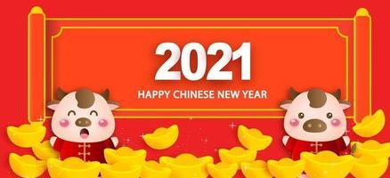 año nuevo chino 2021 año del buey banner vector