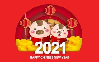 Chinese new year 2021 year of the ox greeting card with a cute ox vector