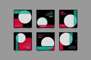 Banner de venta de moda para conjunto de plantillas de publicación de redes sociales vector