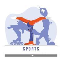 atleta practicando gimnasia deporte plantilla de banner vector
