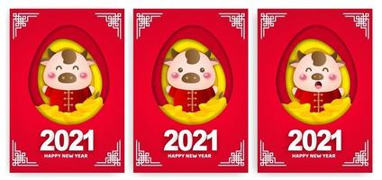 Happy chinese new year 2021 greeting cards, year of the ox. vector