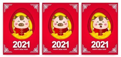 Feliz año nuevo chino 2021 tarjetas de felicitación, año del buey. vector