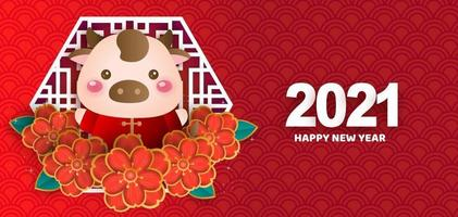 Chinese new year 2021 year of the ox banner vector