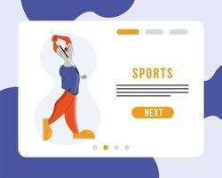 atleta jugando golf plantilla de página de destino de deporte vector