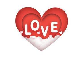 Tarjeta de felicitación del día de San Valentín con palabra de amor.