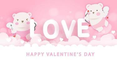 Tarjeta de felicitación del día de San Valentín con lindos osos Cupido. vector