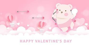 Tarjeta de felicitación del día de San Valentín con lindo oso Cupido. vector