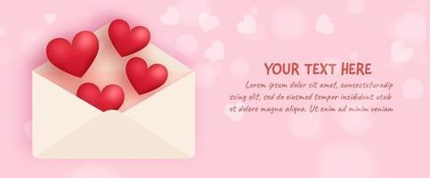Banner de San Valentín con corazones y letra. vector